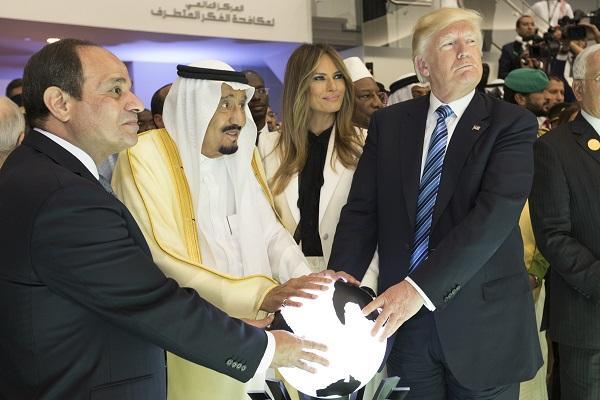 Egypt's Abdel Fattah el-Sisi, with King Salman of Saudi Arabia, Melania Trump, and U.S President Donald Trump, May 2017.