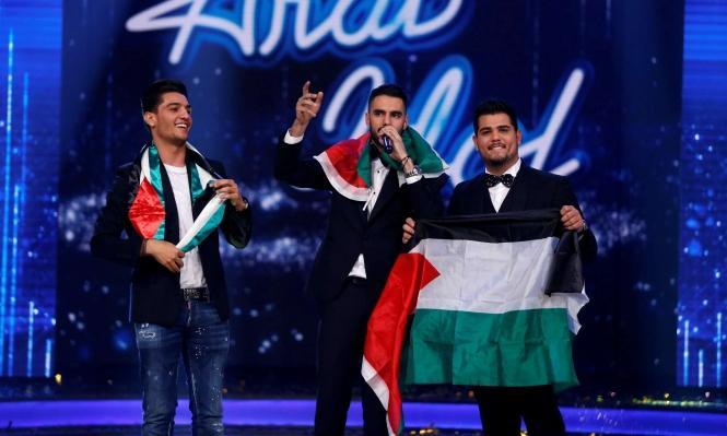 """משמאל לימין: אמיר דנדן, יעקוב שאהין ומוחמד עסאף בגמר """"ערבּ איידול"""", 25.2.2017"""