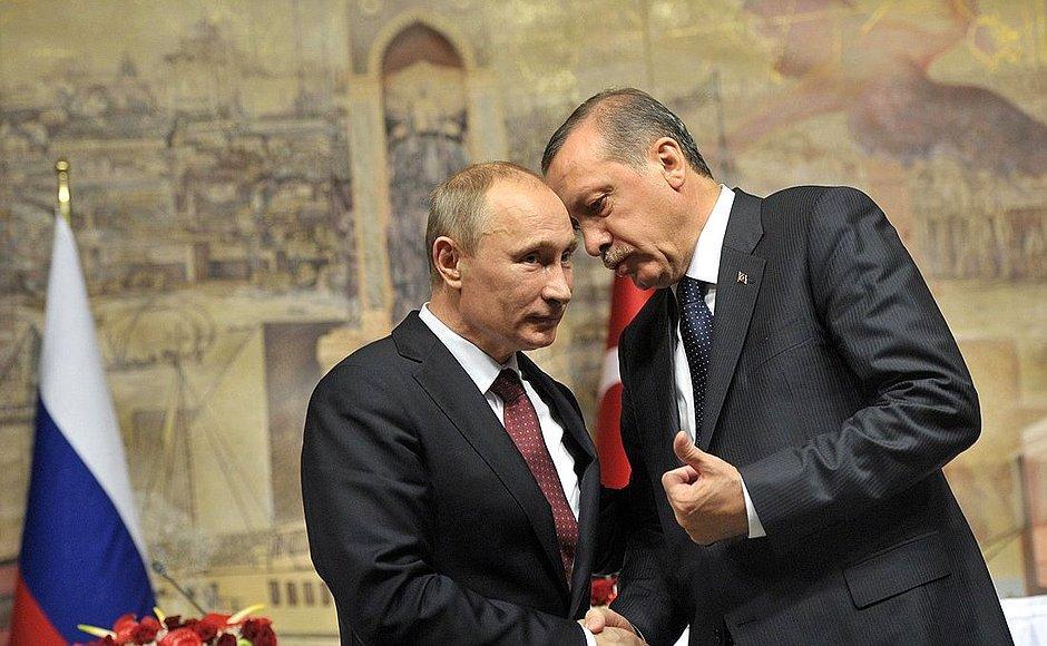 Russian President Vladimir Putin and Turkish President Recip Tayyip Erdoğan. Illustrative