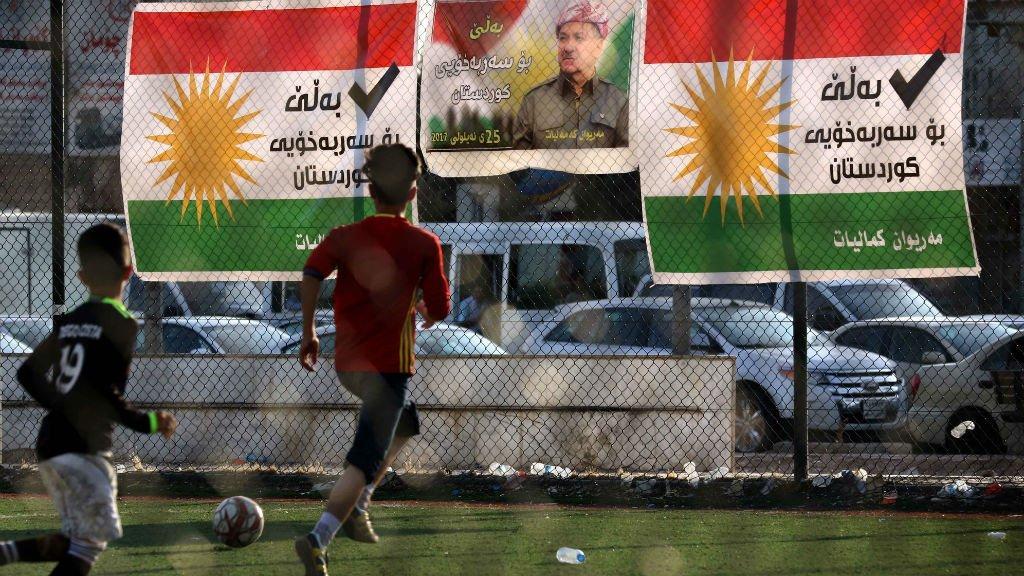 Signs ahead of September 2017 Kurdish Referendum